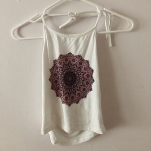 Brandy Melville White Halter Top With Pattern